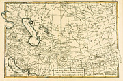 Vintage Map Painting Prints - Map of Persia Print by Guillaume Raynal