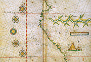 Parchment Framed Prints - Map Of Peru Coast, 1630 Framed Print by Photo Researchers