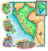 Pen Digital Art - Map Of Peru by Jennifer Thermes