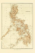 American Drawings - Map of Philippine Islands by Pg Reproductions