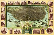 Reproduction Drawings Framed Prints - Map Of Saint Louis Framed Print by Pg Reproductions