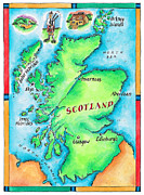 North Sea Digital Art Framed Prints - Map Of Scotland Framed Print by Jennifer Thermes