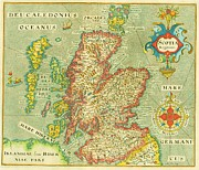 Vintage Originals Prints - Map of Scotland Print by Pg Reproductions