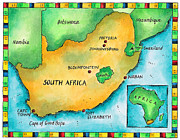 South Africa Digital Art Prints - Map Of South Africa Print by Jennifer Thermes