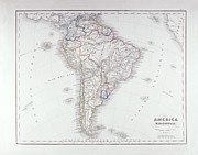 Cartography Digital Art Framed Prints - Map Of South America Framed Print by Fototeca Storica Nazionale