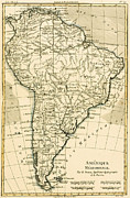 Old Drawings Posters - Map of South America Poster by Guillaume Raynal