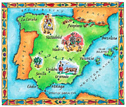 Text Map Framed Prints - Map Of Spain Framed Print by Jennifer Thermes
