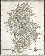 Staffordshire Framed Prints - Map Of Staffordshire, 1793 Framed Print by Granger