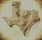 Del Rio Texas Framed Prints - Map of Texas in Vintage Framed Print by Sarah Broadmeadow-Thomas