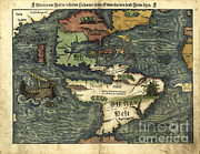 South Of France Framed Prints - Map Of The Americas, 1550 Framed Print by Photo Researchers