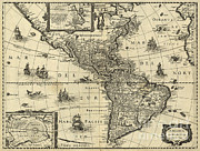 1600s Posters - Map Of The Americas, 1640 Poster by Photo Researchers