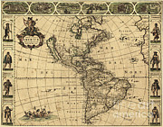 America City Map Prints - Map Of The Americas, 1660 Print by Photo Researchers
