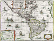 Chart Painting Posters - Map of the Americas Poster by Henricus Hondius