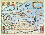 Old Drawings Posters - Map of the Caribbean islands and the American state of Florida Poster by Theodore de Bry