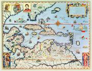 Pirates Painting Framed Prints - Map of the Caribbean islands and the American state of Florida  Framed Print by Theodore de Bry