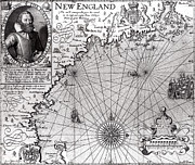 Charts Drawings Framed Prints - Map of the Coast of New England Framed Print by Simon de Passe