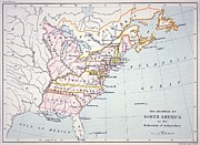 North Drawings Prints - Map of the Colonies of North America at the time of the Declaration of Independence Print by American School