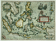 Ship Drawings Posters - Map of the East Indies Poster by Dutch School