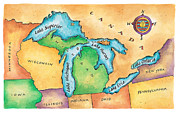 {locations} Posters - Map Of The Great Lakes Poster by Jennifer Thermes