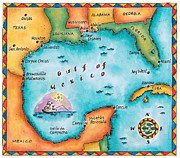 Pen Digital Art - Map Of The Gulf Of Mexico by Jennifer Thermes