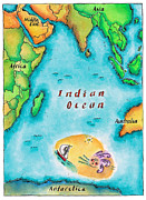 Indian Ink Posters - Map Of The Indian Ocean Poster by Jennifer Thermes