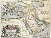 Celestial Drawings Prints - Map of the Middle East from the Sixteenth Century Print by Abraham Ortelius