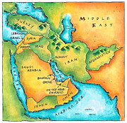 Persian Gulf Countries Framed Prints - Map Of The Middle East Framed Print by Jennifer Thermes