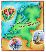Traditional Culture Digital Art - Map Of The Netherlands by Jennifer Thermes
