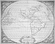 Cartography Painting Prints - Map of the New World 1587 Print by Richard Hakluyt