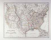 Usa Text Map Framed Prints - Map Of The Northen United States Framed Print by Fototeca Storica Nazionale
