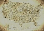 America City Map Prints - Map of The United States in Digital Vintage Print by Sarah Broadmeadow-Thomas