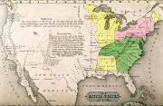 American School; (19th Century) Posters - Map of the United States Poster by John Warner Barber and Henry Hare