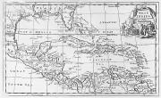 Maps Painting Prints - Map of the West Indies Florida and South America Print by English School