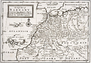 Africa Drawings Framed Prints - Map of the West Part of Barbary Framed Print by Hermann Moll