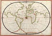 Old Map Photos - Map Of The World, 1590 by Photo Researchers