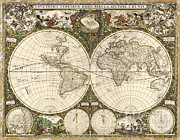 Old Map Photos - Map Of The World, 1660 by Photo Researchers