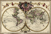 Old Map Photos - Map Of The World, 1720 by Library Of Congress, Geography And Map Division