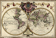 Old Map Photos - Map Of The World, 1720 by Photo Researchers
