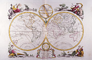 Antique Map Digital Art Metal Prints - Map Of The World Metal Print by Fototeca Storica Nazionale