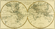 Old Map Drawings Framed Prints - Map of the World in two Hemispheres Framed Print by Guillaume Raynal