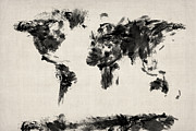 {geography} Prints - Map of the World Map Abstract Print by Michael Tompsett