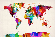 Urban Watercolor Prints - Map of the World Map Abstract Painting Print by Michael Tompsett