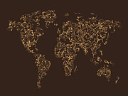 Ornamental Digital Art Metal Prints - Map of the World Map Floral Swirls Metal Print by Michael Tompsett