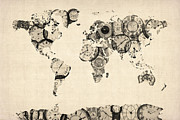 Old Digital Art Posters - Map of the World Map from Old Clocks Poster by Michael Tompsett