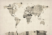 World Map Print Art - Map of the World Map from Old Postcards by Michael Tompsett