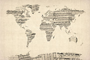 Music Score Posters - Map of the World Map from Old Sheet Music Poster by Michael Tompsett