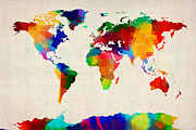 Country Art Digital Art Prints - Map of the World Map Print by Michael Tompsett
