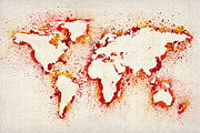 Country Map Prints - Map of the World Paint Splashes Print by Michael Tompsett