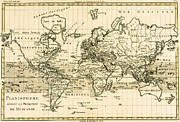 Antique Map Drawings - Map of the World using the Mercator Projection by Guillaume Raynal