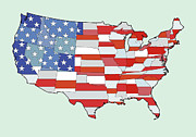 State Pride Prints - Map Of United States Of America Depicting Stars And Stripes Flag Print by Atomic Imagery